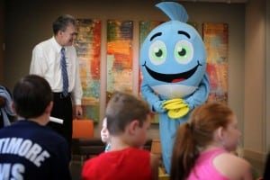 """""""Splash"""" the UNC Nash mascot, is a frequent visitor to schools and community events to help educate the youth of the Rocky Mount community"""
